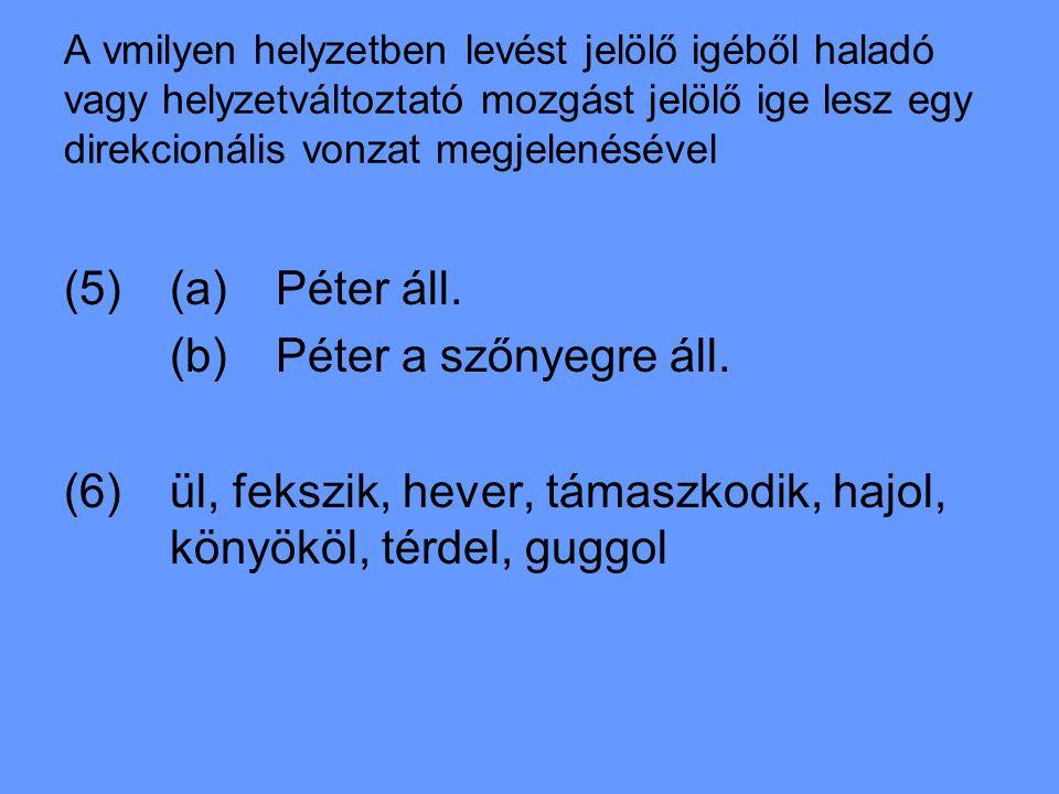 A vmilyen helyzetben levést jelölő igéből haladó vagy helyzetváltoztató mozgást jelölő ige lesz egy direkcionális vonzat megjelenésével (5)(a)Péter áll.