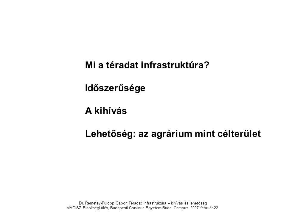 Dr. Remetey-Fülöpp Gábor: Téradat infrastruktúra – kihívás és lehetőség MAGISZ Elnökségi ülés, Budapesti Corvinus Egyetem Budai Campus 2007 február 22