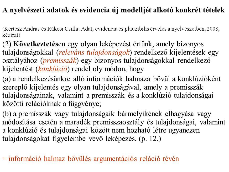 A nyelvészeti adatok és evidencia új modelljét alkotó konkrét tételek (Kertész András és Rákosi Csilla: Adat, evidencia és plauzibilis érvelés a nyelvészetben, 2008, kézirat) (2) Következtetésen egy olyan leképezést értünk, amely bizonyos tulajdonságokkal (releváns tulajdonságok) rendelkező kijelentések egy osztályához (premisszák) egy bizonyos tulajdonságokkal rendelkező kijelentést (konklúzió) rendel oly módon, hogy (a) a rendelkezésünkre álló információk halmaza bővül a konklúzióként szereplő kijelentés egy olyan tulajdonságával, amely a premisszák tulajdonságainak, valamint a premisszák és a konklúzió tulajdonságai közötti relációknak a függvénye; (b) a premisszák vagy tulajdonságaik bármelyikének elhagyása vagy módosítása esetén a maradék premisszaosztály és tulajdonságai, valamint a konklúzió és tulajdonságai között nem hozható létre ugyanezen tulajdonságokat figyelembe vevő leképezés.