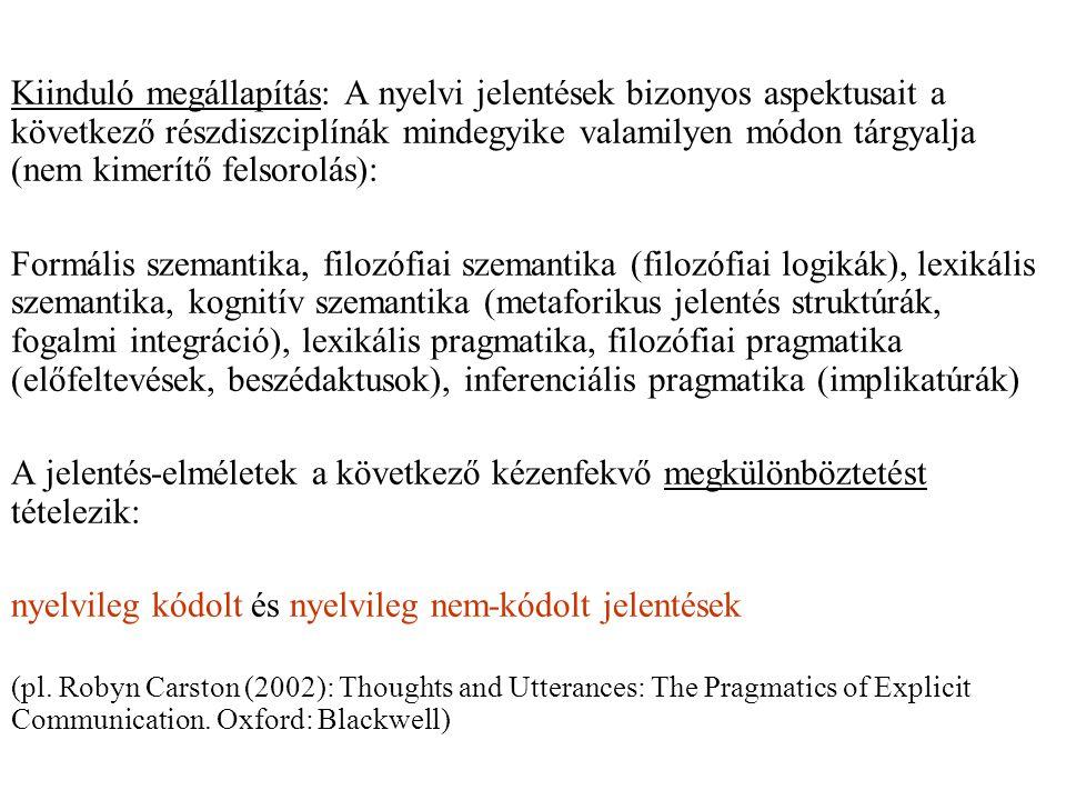 Kiinduló megállapítás: A nyelvi jelentések bizonyos aspektusait a következő részdiszciplínák mindegyike valamilyen módon tárgyalja (nem kimerítő felsorolás): Formális szemantika, filozófiai szemantika (filozófiai logikák), lexikális szemantika, kognitív szemantika (metaforikus jelentés struktúrák, fogalmi integráció), lexikális pragmatika, filozófiai pragmatika (előfeltevések, beszédaktusok), inferenciális pragmatika (implikatúrák) A jelentés-elméletek a következő kézenfekvő megkülönböztetést tételezik: nyelvileg kódolt és nyelvileg nem-kódolt jelentések (pl.