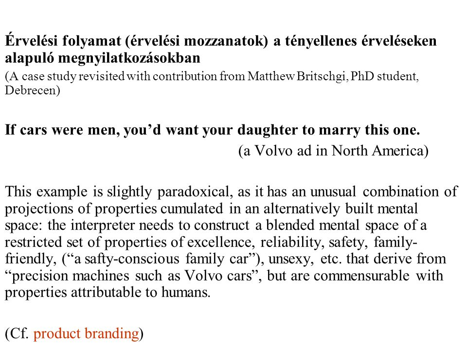 Érvelési folyamat (érvelési mozzanatok) a tényellenes érveléseken alapuló megnyilatkozásokban (A case study revisited with contribution from Matthew Britschgi, PhD student, Debrecen) If cars were men, you'd want your daughter to marry this one.