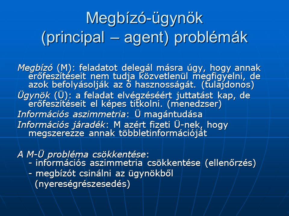 Megbízó-ügynök (principal – agent) problémák Megbízó (M): feladatot delegál másra úgy, hogy annak erőfeszítéseit nem tudja közvetlenül megfigyelni, de