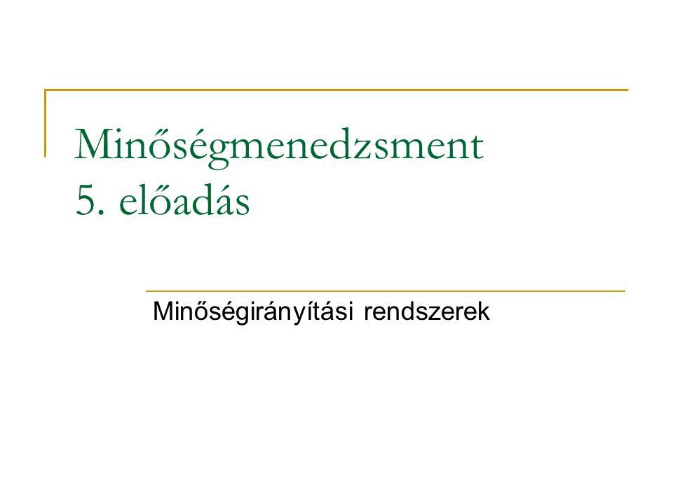 Minőségmenedzsment 5. előadás Minőségirányítási rendszerek