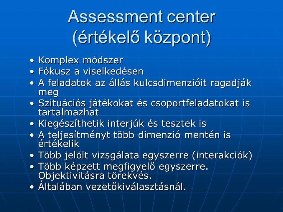 Assessment center (értékelő központ) Komplex módszerKomplex módszer Fókusz a viselkedésenFókusz a viselkedésen A feladatok az állás kulcsdimenzióit ra