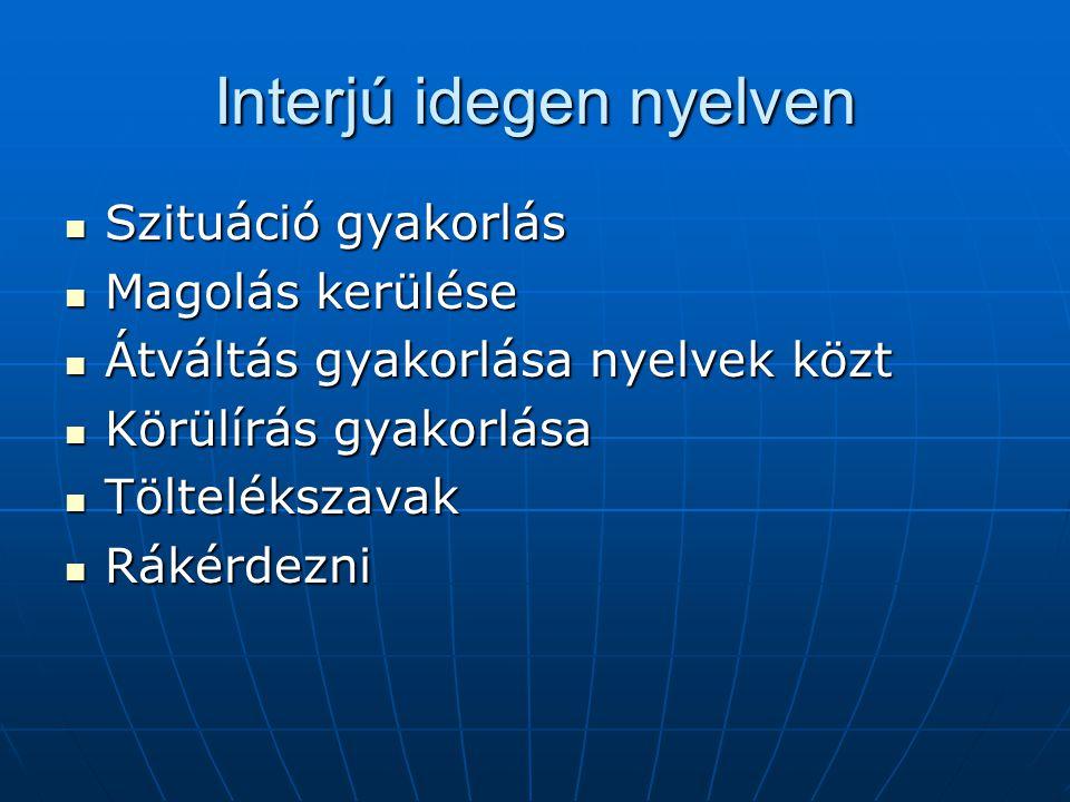 Interjú idegen nyelven Szituáció gyakorlás Szituáció gyakorlás Magolás kerülése Magolás kerülése Átváltás gyakorlása nyelvek közt Átváltás gyakorlása