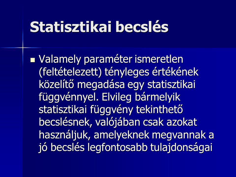 Statisztikai becslés Valamely paraméter ismeretlen (feltételezett) tényleges értékének közelítő megadása egy statisztikai függvénnyel. Elvileg bármely
