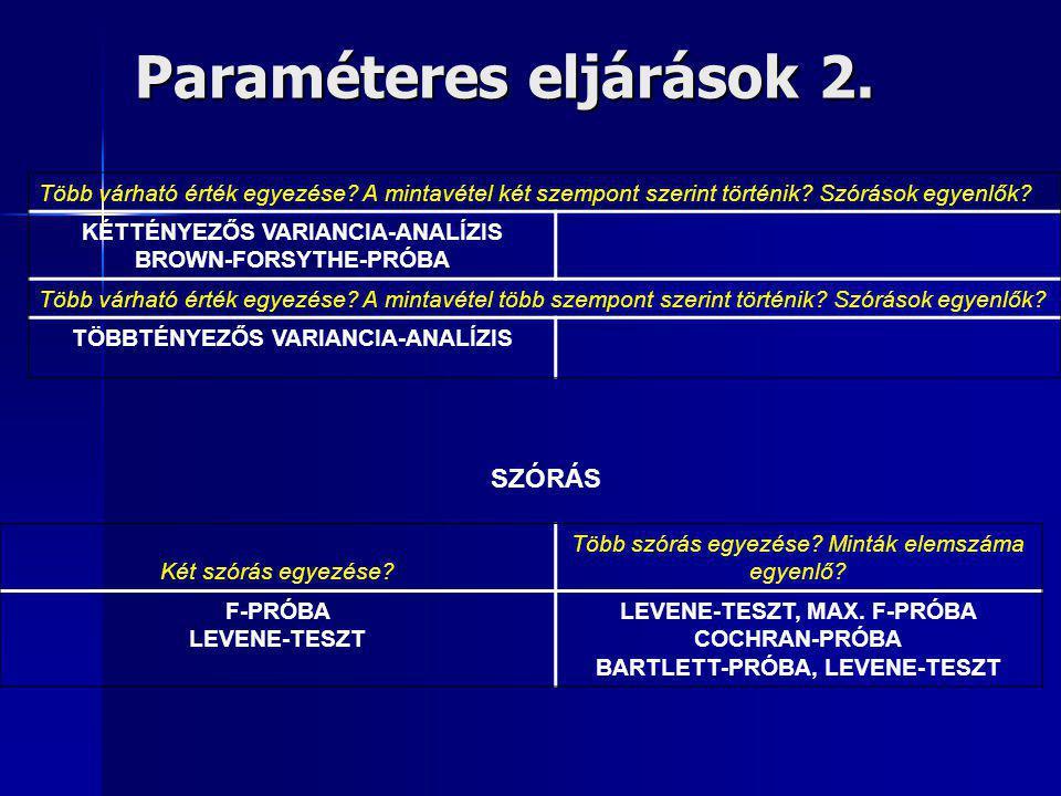 Paraméteres eljárások 2. Több várható érték egyezése? A mintavétel két szempont szerint történik? Szórások egyenlők? KÉTTÉNYEZŐS VARIANCIA-ANALÍZIS BR