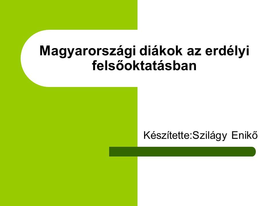 Magyarországi diákok az erdélyi felsőoktatásban Készítette:Szilágy Enikő