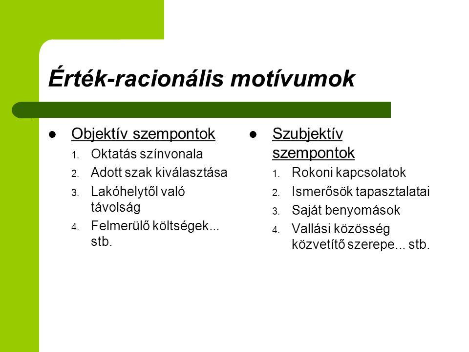 Érték-racionális motívumok Objektív szempontok 1. Oktatás színvonala 2.