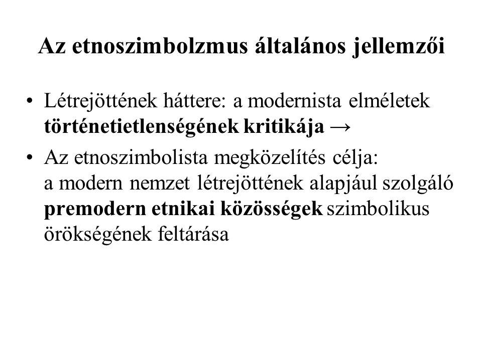 –vertikális (demotikus): alapja: a specifikus szimbólumkészlet az egész etnikumban el van terjedve megszerveződése: az értelmiség ezt politikai célokra használja fel → a modern nemzet megalkotása (Kelet- Közép-Európa).