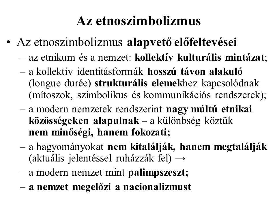 Az etnoszimbolizmus Az etnoszimbolizmus alapvető előfeltevései –az etnikum és a nemzet: kollektív kulturális mintázat; –a kollektív identitásformák ho