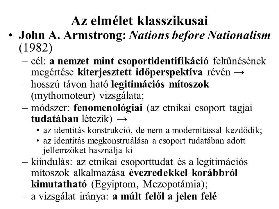 Az elmélet klasszikusai John A. Armstrong: Nations before Nationalism (1982) –cél: a nemzet mint csoportidentifikáció feltűnésének megértése kiterjesz
