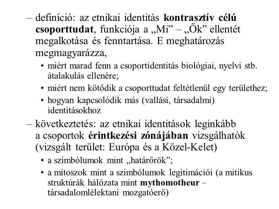 Az etnikai identitás struktúraképző elemei –az életmód és a rá épülő szimbolika → az etnikai csoporttudatok strukturális típusai nomád (Közép-Kelet dinasztikus-terjeszkedő kultúrája); letelepült (Európa territoriális kultúrája) –a vallás: az etnikai (nemzeti) mítoszok alapstruktúrája iszlám; keresztény –a város: a hatalomgyakorlás mythomoteurja (face- to-face lojalitás → szekunder közösségi lojalitás) –a nyelv: szerepe esetleges (kiegészítő/felerősítő)