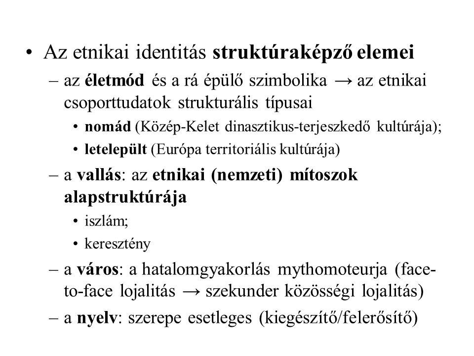 Az etnikai identitás struktúraképző elemei –az életmód és a rá épülő szimbolika → az etnikai csoporttudatok strukturális típusai nomád (Közép-Kelet di