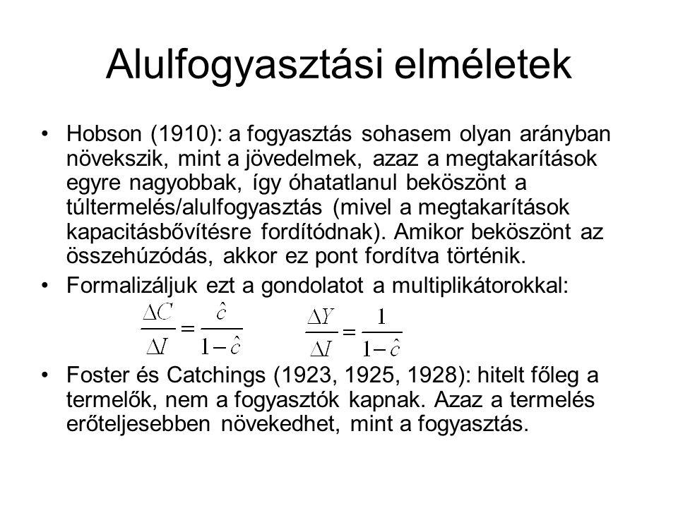 Alulfogyasztási elméletek Hobson (1910): a fogyasztás sohasem olyan arányban növekszik, mint a jövedelmek, azaz a megtakarítások egyre nagyobbak, így