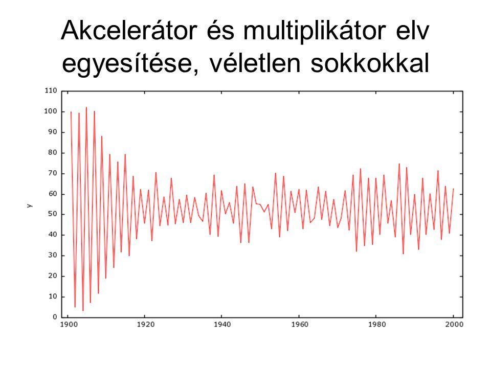 Akcelerátor és multiplikátor elv egyesítése, véletlen sokkokkal