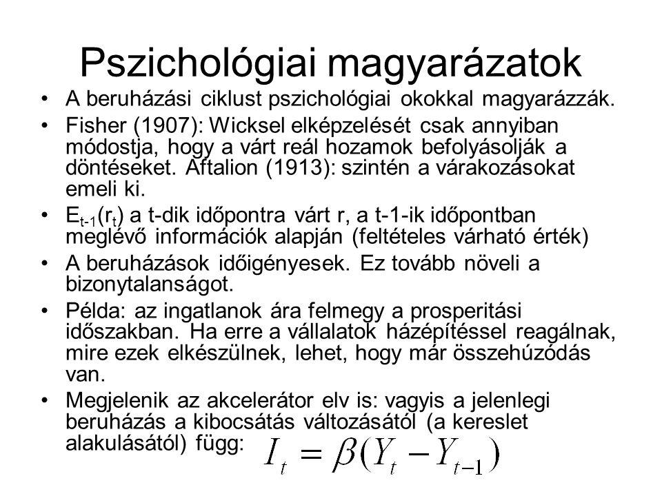 Pszichológiai magyarázatok A beruházási ciklust pszichológiai okokkal magyarázzák. Fisher (1907): Wicksel elképzelését csak annyiban módostja, hogy a