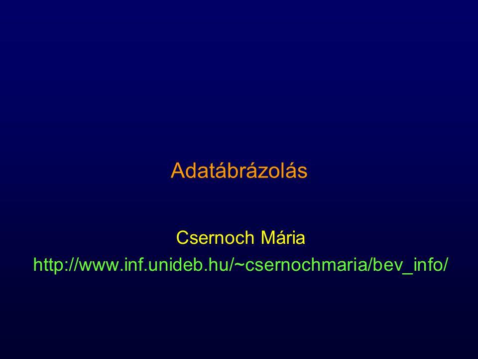 Adatábrázolás Csernoch Mária http://www.inf.unideb.hu/~csernochmaria/bev_info/