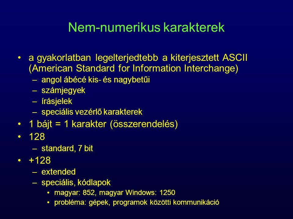 Nem-numerikus karakterek a gyakorlatban legelterjedtebb a kiterjesztett ASCII (American Standard for Information Interchange) –angol ábécé kis- és nag