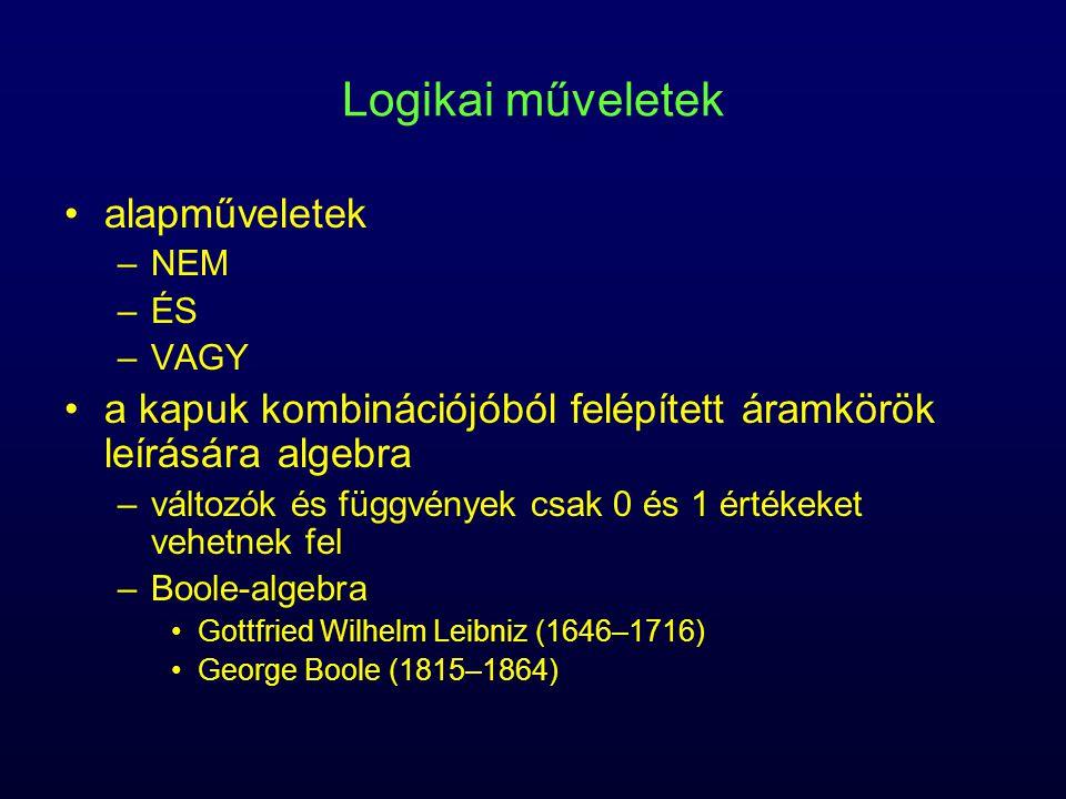 Logikai műveletek alapműveletek –NEM –ÉS –VAGY a kapuk kombinációjóból felépített áramkörök leírására algebra –változók és függvények csak 0 és 1 érté