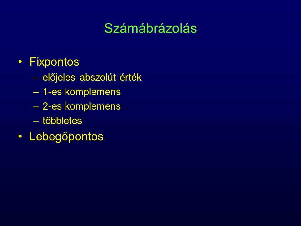 Számábrázolás Fixpontos –előjeles abszolút érték –1-es komplemens –2-es komplemens –többletes Lebegőpontos