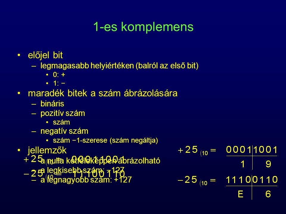1-es komplemens előjel bit –legmagasabb helyiértéken (balról az első bit) 0: + 1: − maradék bitek a szám ábrázolására –bináris –pozitív szám szám –negatív szám szám −1-szerese (szám negáltja) jellemzők –a nulla kétféleképpen ábrázolható –a legkisebb szám: −127 –a legnagyobb szám: +127