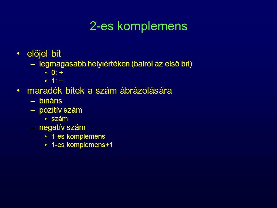 2-es komplemens előjel bit –legmagasabb helyiértéken (balról az első bit) 0: + 1: − maradék bitek a szám ábrázolására –bináris –pozitív szám szám –neg