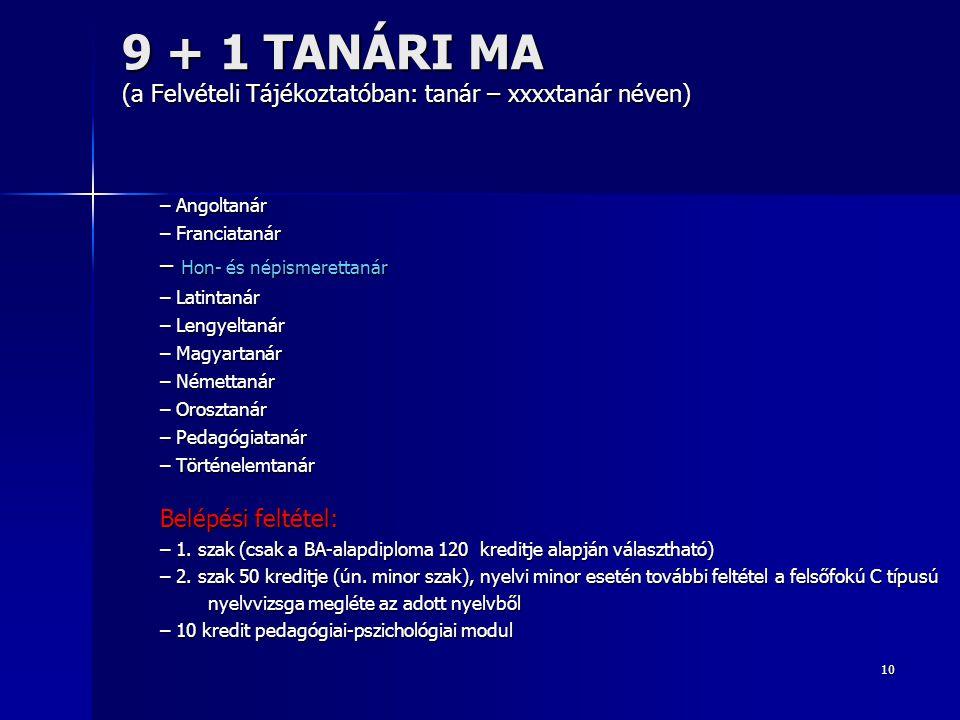 10 9 + 1 TANÁRI MA (a Felvételi Tájékoztatóban: tanár – xxxxtanár néven) – Angoltanár – Franciatanár – Hon- és népismerettanár – Latintanár – Lengyelt