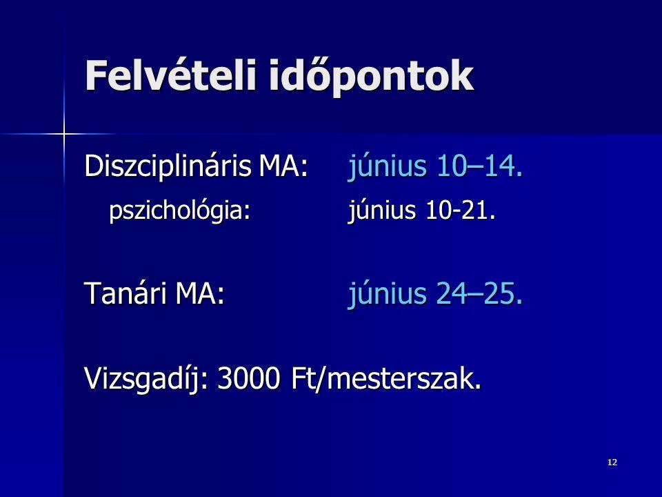 12 Felvételi időpontok Diszciplináris MA: június 10–14. pszichológia:június 10-21. Tanári MA:június 24–25. Vizsgadíj: 3000 Ft/mesterszak.