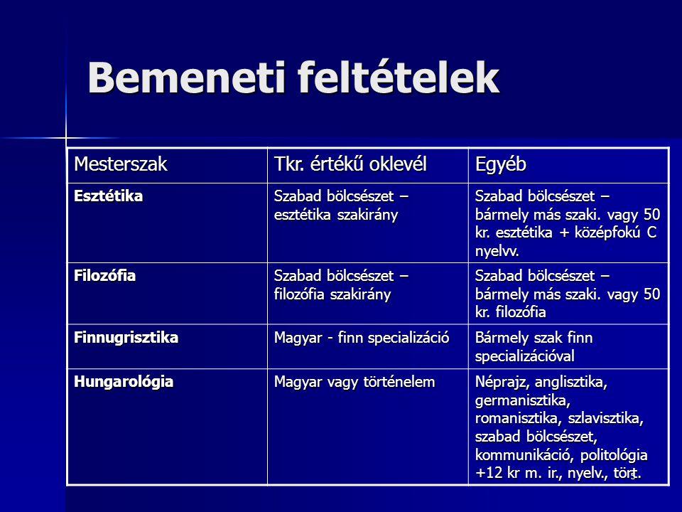 5 Bemeneti feltételek Mesterszak Tkr. értékű oklevél Egyéb Esztétika Szabad bölcsészet – esztétika szakirány Szabad bölcsészet – bármely más szaki. va