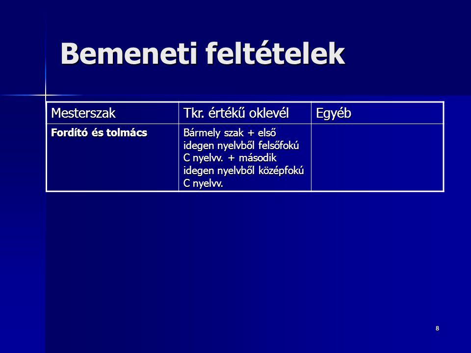 8 Bemeneti feltételek Mesterszak Tkr. értékű oklevél Egyéb Fordító és tolmács Bármely szak + első idegen nyelvből felsőfokú C nyelvv. + második idegen