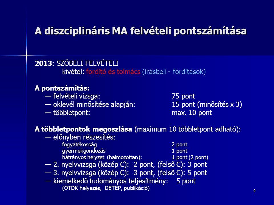 9 A diszciplináris MA felvételi pontszámítása 2013: SZÓBELI FELVÉTELI kivétel: fordító és tolmács (írásbeli - fordítások) A pontszámítás: — felvételi vizsga: 75 pont — oklevél minősítése alapján: 15 pont (minősítés x 3) — többletpont:max.
