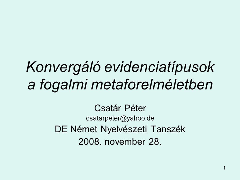 1 Konvergáló evidenciatípusok a fogalmi metaforelméletben Csatár Péter csatarpeter@yahoo.de DE Német Nyelvészeti Tanszék 2008.