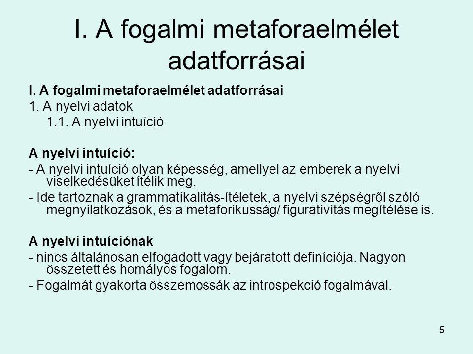 5 I. A fogalmi metaforaelmélet adatforrásai 1. A nyelvi adatok 1.1.