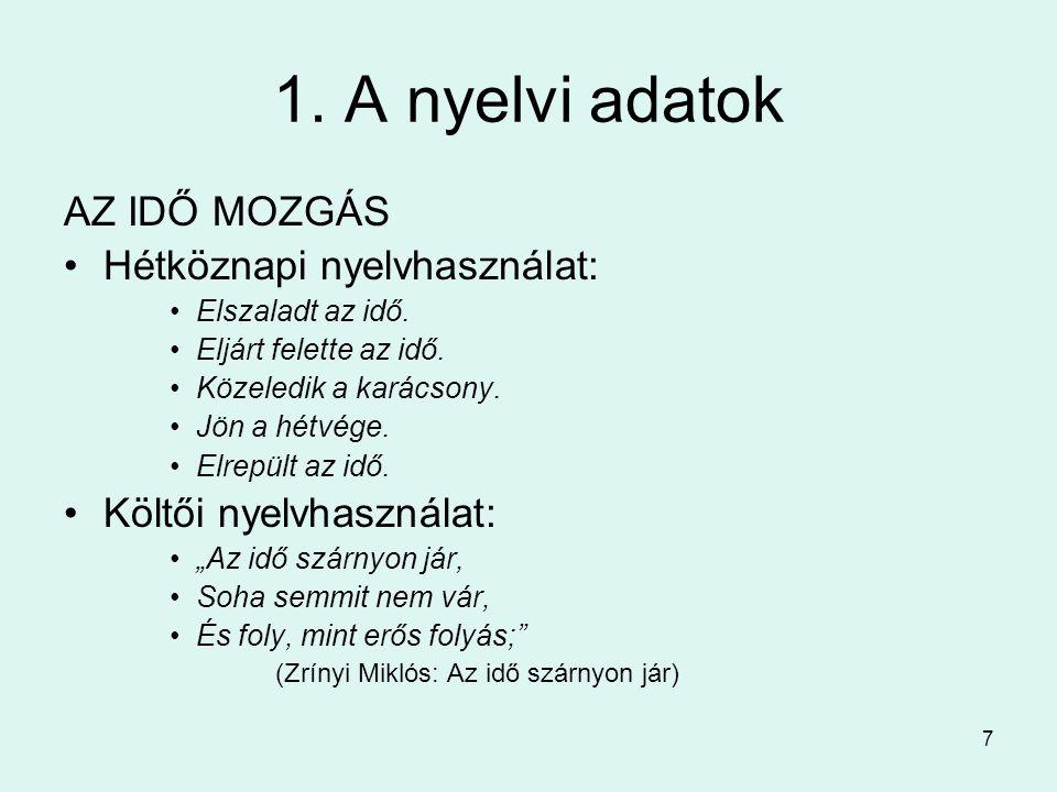 7 1. A nyelvi adatok AZ IDŐ MOZGÁS Hétköznapi nyelvhasználat: Elszaladt az idő.