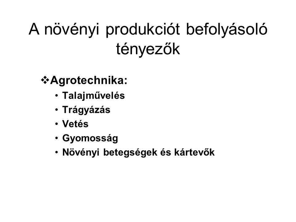 A növényi produkciót befolyásoló tényezők  Agrotechnika: Talajművelés Trágyázás Vetés Gyomosság Növényi betegségek és kártevők