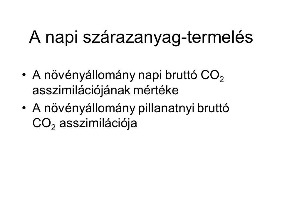 A napi szárazanyag-termelés A növényállomány napi bruttó CO 2 asszimilációjának mértéke A növényállomány pillanatnyi bruttó CO 2 asszimilációja