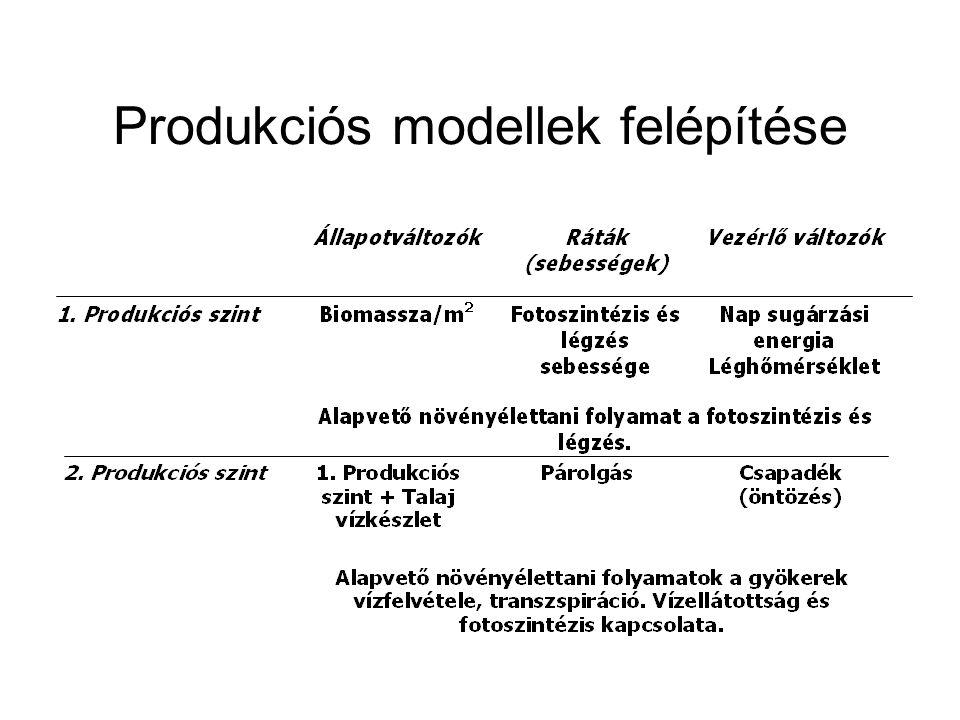 A növényi növekedés és fejlődés érzékenysége a stresszre (Ritchie, 1991) Alacsony szár/törzs, több mellékhajtás és ág AlacsonyMagasAlacsony Nitrogén stressz Alacsony szár/törzs, több mellékhajtás és ág Csekély késés a vegetatív stádiumban Magas a vegetatív, alacsony a szemtelítődés stádiumában Alacsony légzés Mérsékelt levélfonnyadás és sodródás Víz stressz AlacsonyMagasAlacsony A fajták változékonysá ga Hőmérséklet Hőmérséklet, Fotoperiódus Hőmérséklet Napsugárzás (energia) Fő környezeti tényező Morfológiai Fázisos (fiziológia) Kiterjedéses (térfogat, LAI) Tömeg FejlődésNövekedés Nitrogén stressz