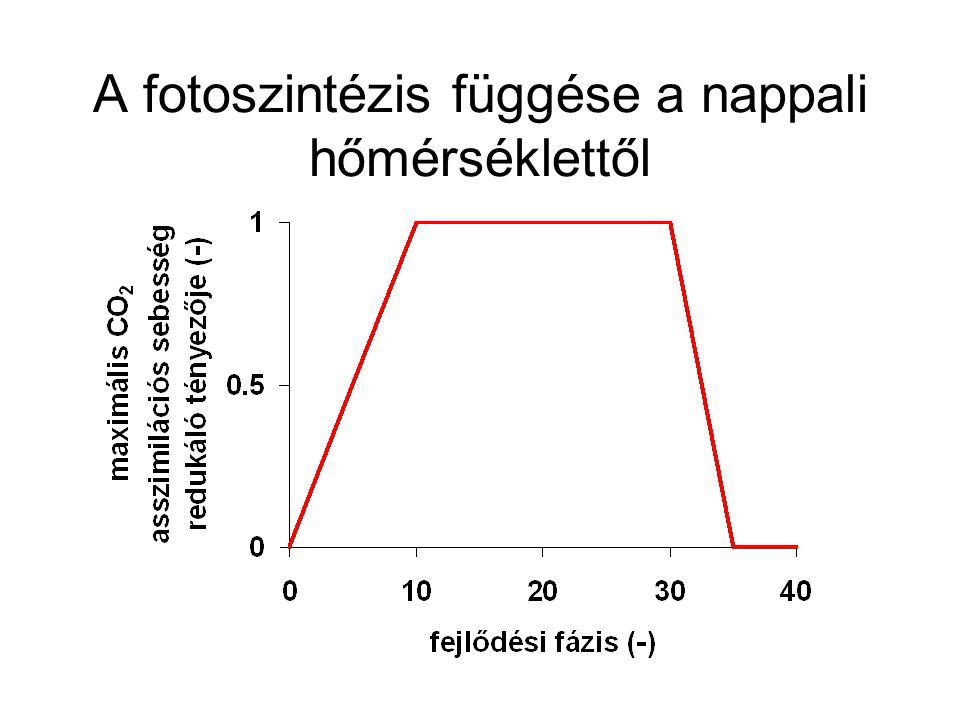 A fotoszintézis függése a nappali hőmérséklettől