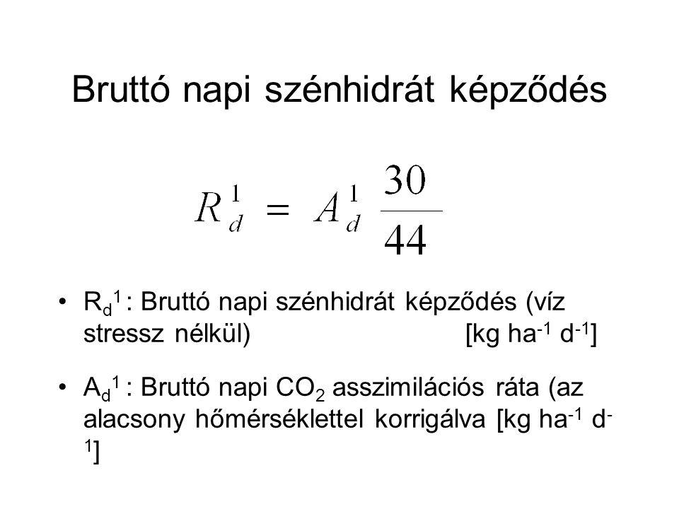 Bruttó napi szénhidrát képződés R d 1 : Bruttó napi szénhidrát képződés (víz stressz nélkül)[kg ha -1 d -1 ] A d 1 : Bruttó napi CO 2 asszimilációs rá
