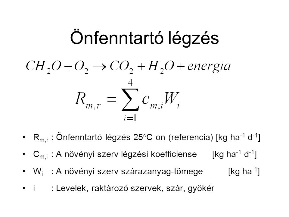 Önfenntartó légzés R m,r : Önfenntartó légzés 25°C-on (referencia) [kg ha -1 d -1 ] C m,i : A növényi szerv légzési koefficiense [kg ha -1 d -1 ] W i