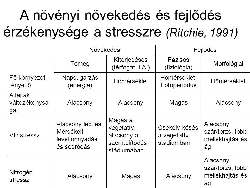 A növényi növekedés és fejlődés érzékenysége a stresszre (Ritchie, 1991) Alacsony szár/törzs, több mellékhajtás és ág AlacsonyMagasAlacsony Nitrogén s