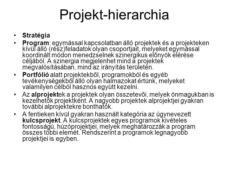 Projekt-hierarchia Stratégia Program: egymással kapcsolatban álló projektek és a projekteken kívül álló (rész)feladatok olyan csoportjait, melyeket eg