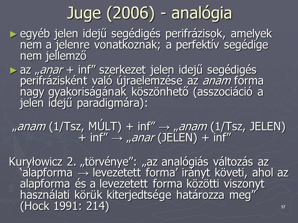 """17 Juge (2006) - analógia ► egyéb jelen idejű segédigés perifrázisok, amelyek nem a jelenre vonatkoznak; a perfektív segédige nem jellemző ► az """"anar"""