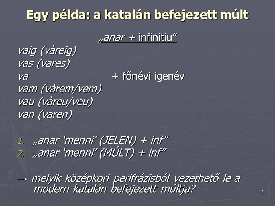 """7 Egy példa: a katalán befejezett múlt """"anar + infinitiu vaig (vàreig) vas (vares) va + főnévi igenév vam (vàrem/vem) vau (vàreu/veu) van (varen) 1."""