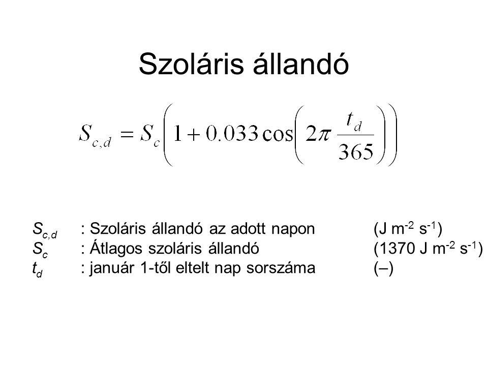 Szoláris állandó S c,d : Szoláris állandó az adott napon(J m -2 s -1 ) S c : Átlagos szoláris állandó(1370 J m -2 s -1 ) t d : január 1-től eltelt nap