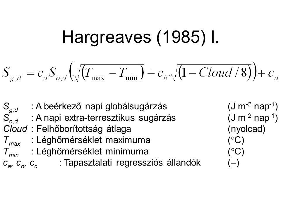 Hargreaves (1985) I. S g,d : A beérkező napi globálsugárzás(J m -2 nap -1 ) S o,d : A napi extra-terresztikus sugárzás(J m -2 nap -1 ) Cloud: Felhőbor