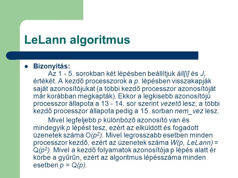 LeLann algoritmus Bizonyítás: Az 1 - 5. sorokban két lépésben beállítjuk áll[i] és J i értékét. A kezdő processzorok a p. lépésben visszakapják saját