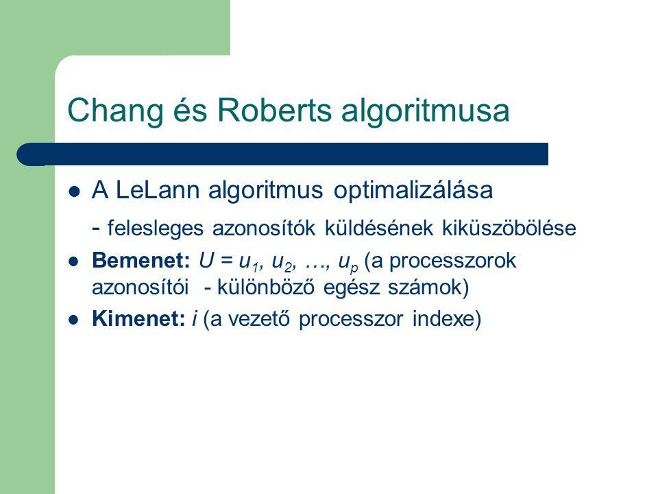 Chang és Roberts algoritmusa A LeLann algoritmus optimalizálása - felesleges azonosítók küldésének kiküszöbölése Bemenet: U = u 1, u 2, …, u p (a processzorok azonosítói - különböző egész számok) Kimenet: i (a vezető processzor indexe)