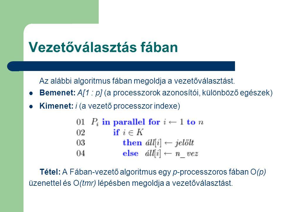 Vezetőválasztás fában Az alábbi algoritmus fában megoldja a vezetőválasztást. Bemenet: A[1 : p] (a processzorok azonosítói, különböző egészek) Kimenet